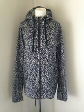 FAT FACE Women's Navy Blue White Floral Cotton Hooded Lightweight Jacket Size 18
