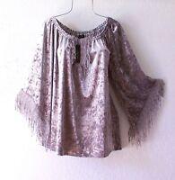 New~Size Medium~Gray Velvet Victorian Peasant Blouse Holiday Boho Top~8/10/M