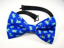 NEW FABRIC BOW TIE W/Adjustable Strap * DRAGONFLIES * Handmade USA FREE SHIPPING