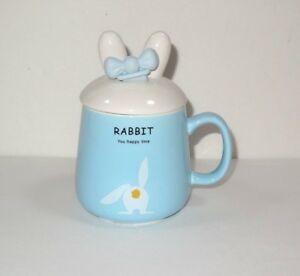 Rabbit You Happy Time Blue Ceramic Baby Food Cup w/ Spoon Inserted in Lid