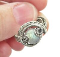 Adjustable Labradorite Wire-Wrapped Ring in Sterling Silver