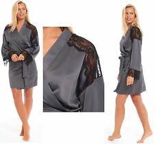 Ladies Satin Kimono Wrap Summer SHORT Dressing Gown Grey Matte Black Lace Detail