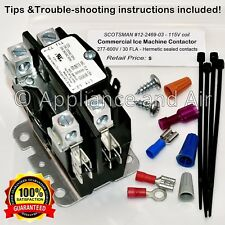 SCOTSMAN 12-2469-03 Contactor 115V coil 30A +Hardware & Instruction ships TODAY!