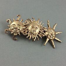 Vintage Sun Faces Metal Barrette Hair Clip Celestial Matte Gold New Age Theme
