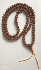 Pure Rudraksha Mala 108 beads Prayer Necklace, Brown, Made in Nepal.