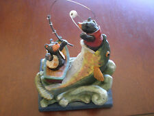 Nwt 4.5 Inch Gerson Black Bears Fishing in Boat Heavy Poly Resin Fish Figurine