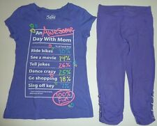 10 JUSTICE GIRLS~AWESOME DAY WITH MOM~ MOTHERS DAY PURPLE TOP CAPRI PANTS OUTFIT