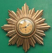 Anglais Art-Deco 8 Jour Doré or Sunburst Horloge Murale