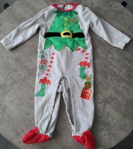 Baby girl boy Christmas Elf body suit/ sleepsuit size age 9-12 months tu