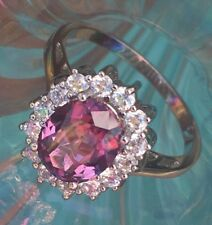 💍 Alexandrite Halo Multi COLOR CHANGE RING Princess Diana Style .925 Silver Sz6