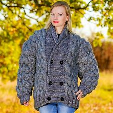 3 KG Hand Knitted Mohair Wool Sweater Coat Chunky Cardigan by SUPERTANYA M L XL
