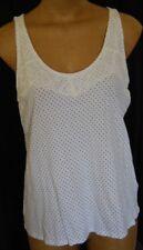 ELLE Size XL White w/polka dots & Lace overlay Sleeveless Tank. Pretty. EUC