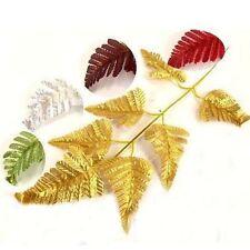 Metallic Artificial Fern Leaves Spray Foliage  Fake Silk Craft
