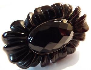 Huge Magnificent LOLA ROSE Sterling Silver Black Onyx Flower Statement Ring