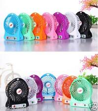 Portable HandHeld Mini Rechargeable LED Light Fan With Battery+USB Cable-Blue