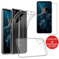 For Huawei Honor 20 Shockproof Clear TPU Slim Gel Case Cover + Tempered Glass