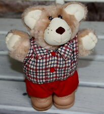"Vintage Furskins Teddy Bear Figure Boone Red Plaid Flannel Shirt 1980s Plush 7"""