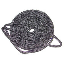 1/2 Inch x 25 Ft Black Double Braid Nylon Mooring and Docking Line for Boats