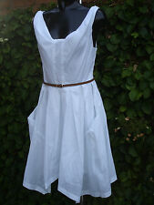 Full Circle Retro Style White Dress 100 Cotton Size UK 8 Nes 10