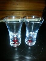_lot of (2) Etched Clear Di Amore Shot Glass with Red Bubble in Bottom