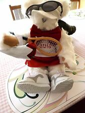 "Vermont 17"" White Teddy Bear Dressed as a Tennis Player with Racket & Sneakers"