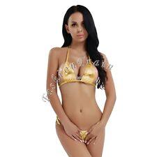 Sexy Women Lingerie Wet Look Bikini Bra Micro G-string Thong Swimwear Underwear