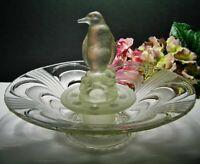 LIBOCHOVICE Vintage CZECH Frosted GLASS  FLOAT BOWL & PENGUIN Centrepiece FROG