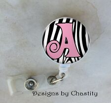 Personalized Badge Reel Retractable ID Tag Clip Holder Custom Pink Letter Zebra