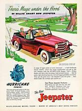 Print. Red 1950 Willys Jeepster Advertisement