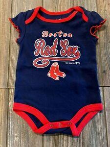 NWT Girls Boston Red Sox Navy Blue/Red Short Sleeve Logo Bodysuit 3/6 Months