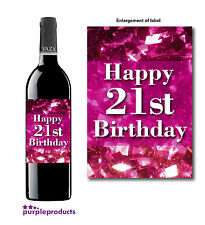 HAPPY 21st BIRTHDAY PINK GLITTER DESIGN WINE BOTTLE LABEL GIFT
