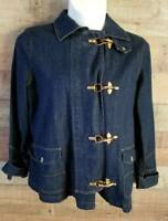 Womens XL Chaps Denim Jacket Brass Toggle Clasp & Snap Front Heavy