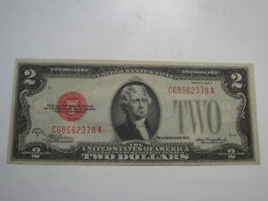 XF+/AU 1928-D Red Seal Legal Tender $2 US Note C/A Block.  #8