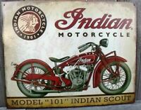 Indian Scout Motorcycle Metal Tin Ad Sign Picture Garage Repair Bike Shop Gift