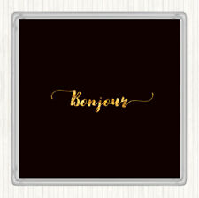 Black Gold Bonjour Quote Drinks Mat Coaster