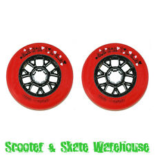 2 x DERAILED Plastic Core 100mm Scooter Wheels Red/Black  FREE ABEC 9 BEARINGS