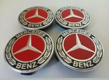 4 x RED Alloy Wheel Centre Caps 75mm Badges Fits for Mercedes A1714000025 A B C