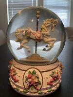 "San Francisco Music Box Company Snow Globe Carousel Horse ""Unchained Melody"""