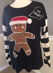Womens United States Sweaters Christmas Gingerbread Man Pullover SZ Large NWT