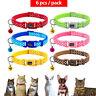 6/18/24pcs Polka Dots Pet Puppy Cat Kitten Small Dog  Adjustable Collars & Bell