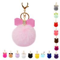 8CM Bowk Fur Pom Keychain Genuine Rex Rabbit Fur Ball Key Chains Fur Key Ri O3C4