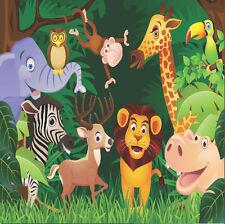 8x8FT Jungle Animals Lion Elephant Safari Custom Photo Background Backdrop Vinyl