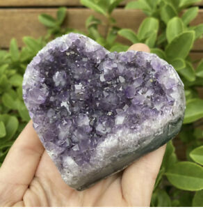 """Large A Grade Amethyst Druze Crystal Heart - Carved In Uruguay """"95mm"""" (#6090)"""