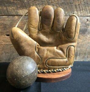 Vintage 1940s Guardian Brand SoftBall Baseball Glove & Ball Old Antique