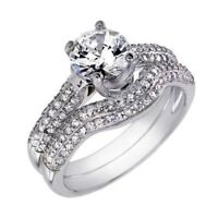 14k White Gold Sterling Silver Round cut 2pc Engagement Ring & Wedding Band Set