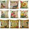 Vintage Butterfly & Flower Home Decoration Cotton Linen Pillowcase Cushion Cover