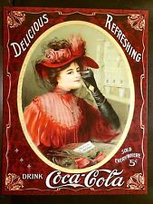 Coca Cola Victorian Rose TIN SIGN Lady Red Dress Vtg metal Home Decor Coke