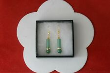 3.5 Cm. Long + Hooks In Box Beautiful Gold Plated Earrings With Jade 4.8 Gr.
