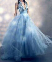 $6,075 Jenny Packham Embellished Tulle Blue Long Evening Gown Dress UK 8 / US 4
