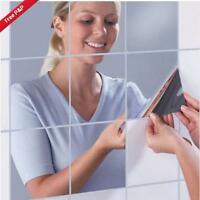 10/16Pcs DIY Square Mirror Tile Wall Stickers 3D Decal Mosaic Home Room Decor Z